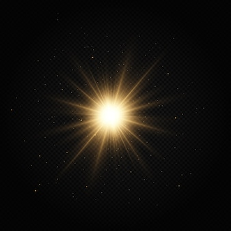 Estrela dourada brilhante efeito de luz estrela brilhante estrela de natal a luz brilhante dourada explode