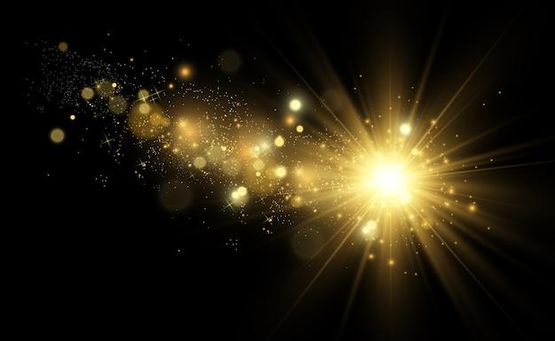 Estrela dourada brilhante. estrela brilhante de efeito de luz. linda luz para ilustrar. as faíscas brancas brilham com uma luz especial. brilha em fundo transparente.