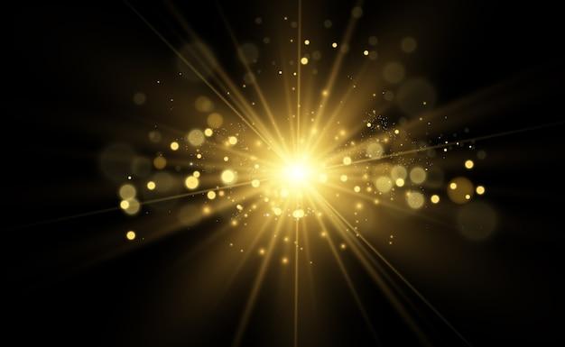 Estrela dourada brilhante. estrela brilhante de efeito de luz.