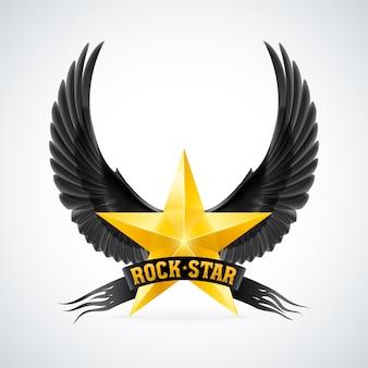Estrela dourada com asas e banner de estrela do rock