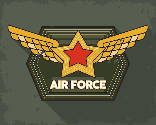 Estrela dourada com emblema das asas da força aérea