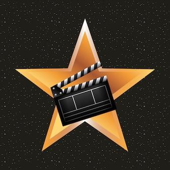 Estrela dourada com ícone de ripa