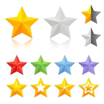 Estrela dourada e colorida
