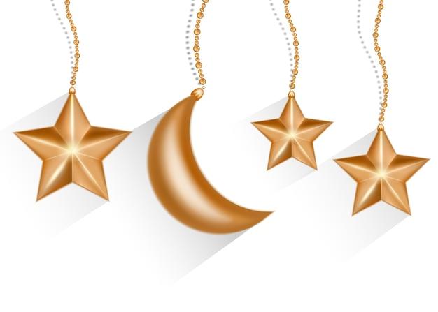 Estrela dourada e lua isoladas no fundo branco.