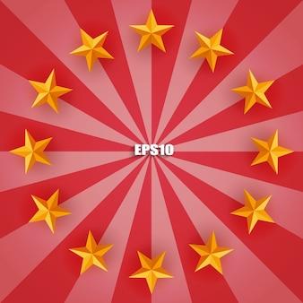 Estrela dourada em fundo de raio vermelho