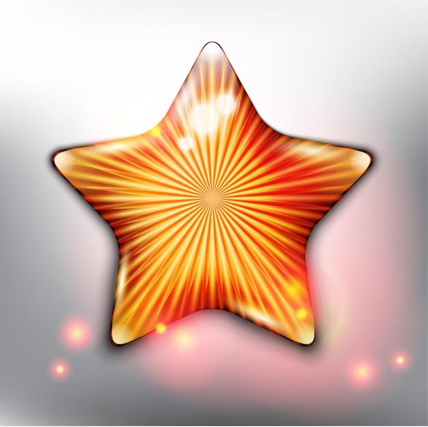 Estrela dourada. isolado no painel branco