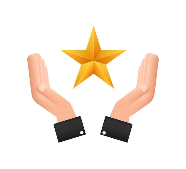 Estrela dourada metálica realista sobre o padrão de mão no fundo branco. ilustração em vetor das ações.