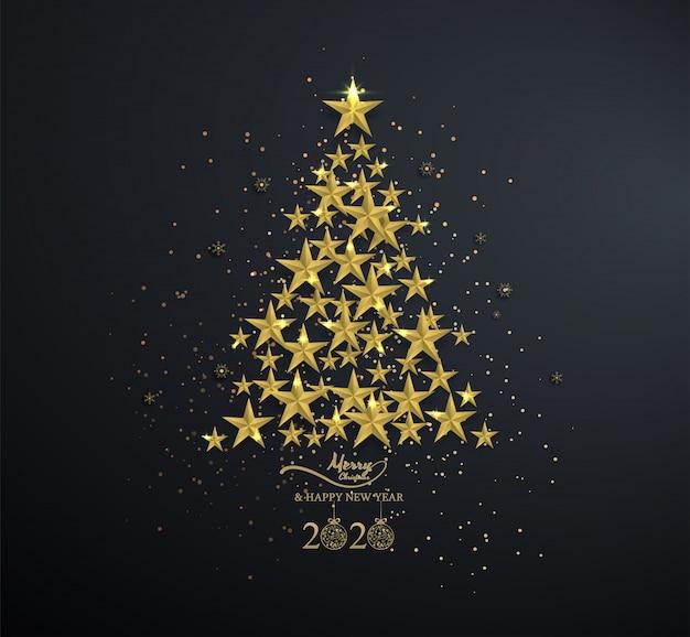 Estrela dourada na árvore de natal com floco de neve no preto
