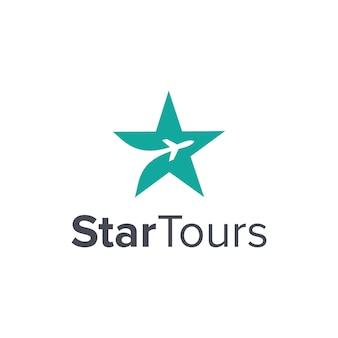 Estrela e avião de viagem simples, elegante, criativo, geométrico, moderno, design de logotipo