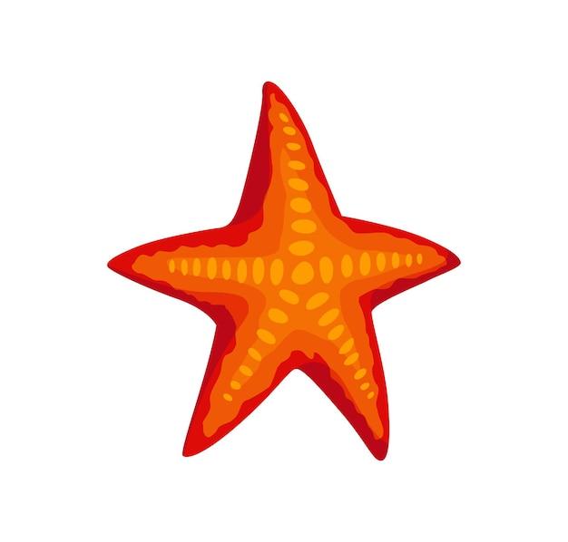 Estrela e estrela do mar - animal do mar e do oceano. personagem de fauna em estilo cartoon plana. objeto colorido fofo de vetor isolado no fundo branco