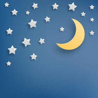 Estrela e lua papel arte estilo ilustração vetorial