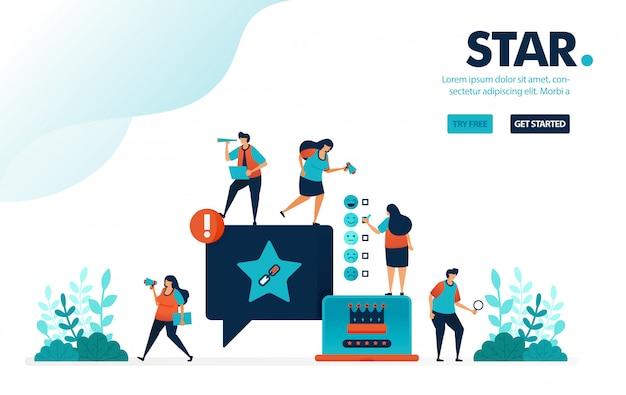 Estrela e satisfação, classificação em comentários nas redes sociais para o nível de satisfação do usuário