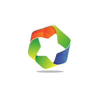 Estrela em logotipo de forma hexagonal