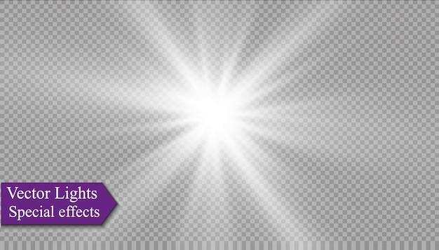 Estrela em um fundo transparente, efeito da luz, ilustração. estourar com brilhos.