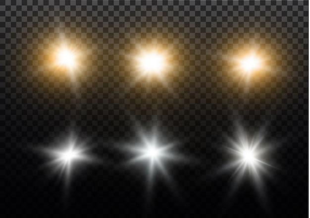 Estrela em um fundo transparente, efeito da luz, ilustração. estourar com brilhos