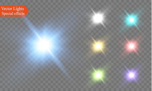 Estrela em um fundo transparente, efeito de luz, repleto de brilhos.