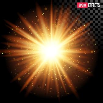 Estrela estourada com brilhos. efeito de reflexo de lente transparente.