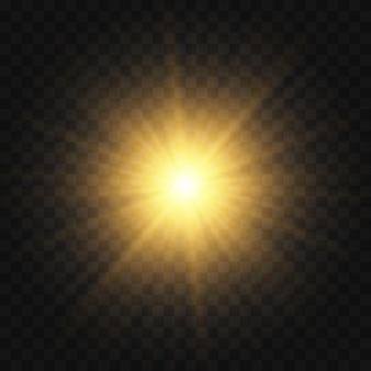 Estrela estourou com brilhos. conjunto de luz amarela brilhante explode em um fundo transparente partículas de poeira mágica cintilante. glitter dourado estrela brilhante. sol brilhante e transparente, flash brilhante