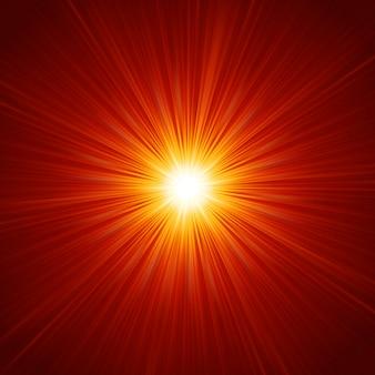 Estrela estourou fogo vermelho e amarelo.