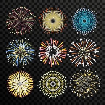 Estrela estourou isolado no fundo transparente. conjunto de vetores de fogos de artifício grande