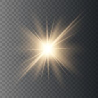 Estrela explode, luz dourada brilhante