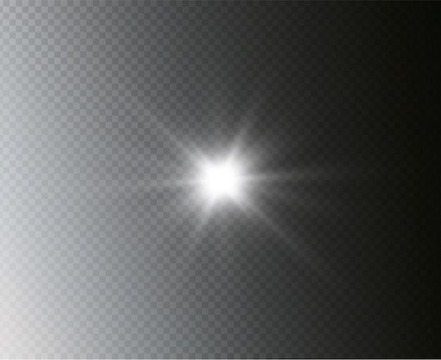 Estrela explode. o sol brilhante e transparente, flash brilhante
