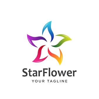 Estrela flor logotipo simples limpo.