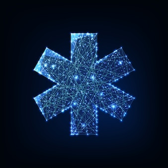 Estrela futurista brilhante baixo símbolo médico poligonal da vida isolada em fundo azul escuro.