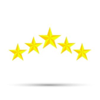 Estrela ícone vector design cinco elementos no fundo branco