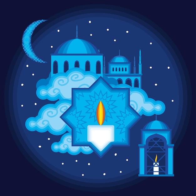 Estrela islâmica à luz de velas