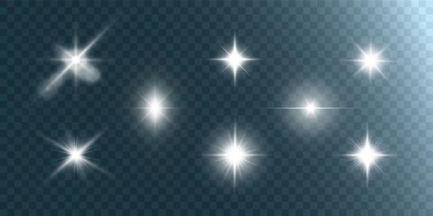 Estrela linda brilhante sobre um fundo transparente. luz dos raios.