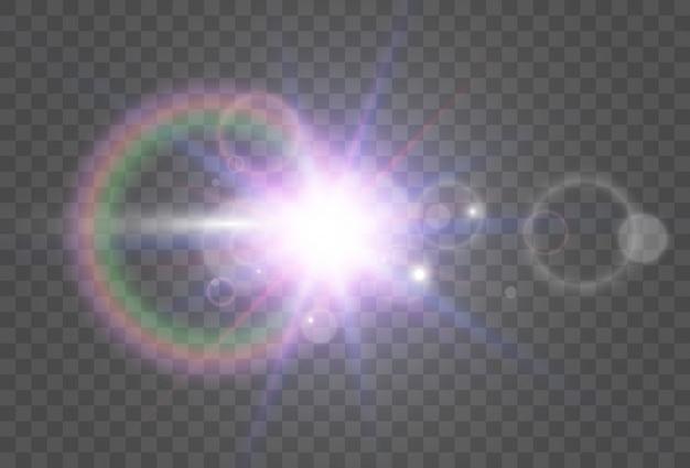 Estrela linda e brilhante. ilustração de um efeito de luz em um fundo transparente.