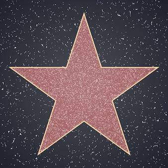 Estrela modelo em branco na praça de granito