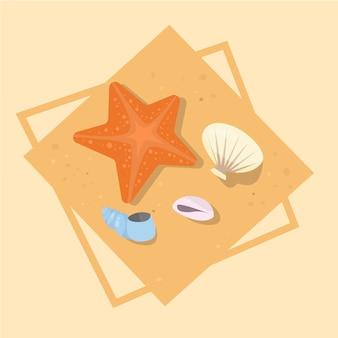 Estrela peixe e conchas ícone verão mar férias conceito verão férias