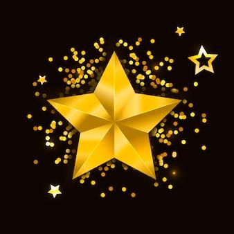 Estrela realista metálico dourado isolado amarelo 3d natal