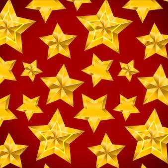 Estrela realista metálico dourado isolado amarelo 3d padrão natal
