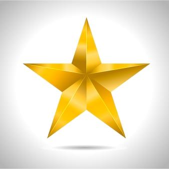 Estrela realista metálico dourado isolado amarelo
