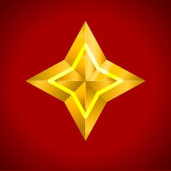 Estrela realista metálico dourado isolado