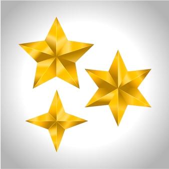 Estrela realista metálico dourado