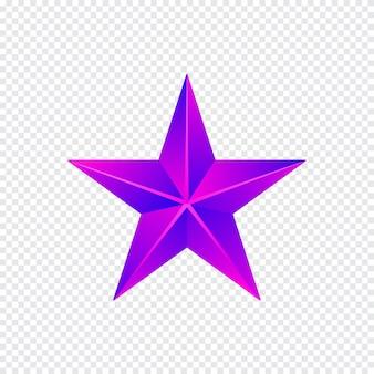 Estrela roxa isolada no fundo branco, ilustração vetorial