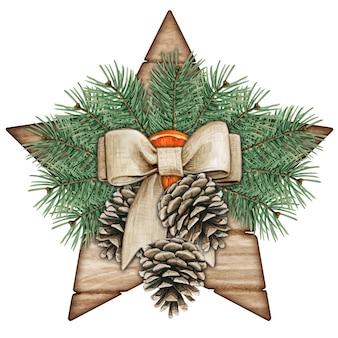 Estrela rústica chique em aquarela com pinhas e ramos de pinheiro
