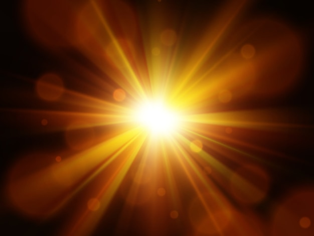 Estrela, sol com reflexo de lente. explosão abstrata.