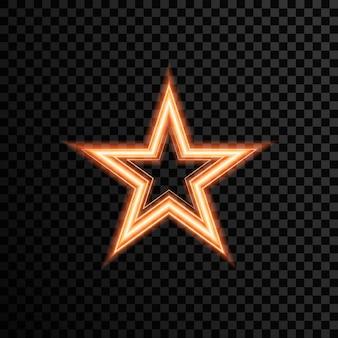 Estrela transparente com dourado