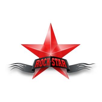 Estrela vermelha com estrela do rock