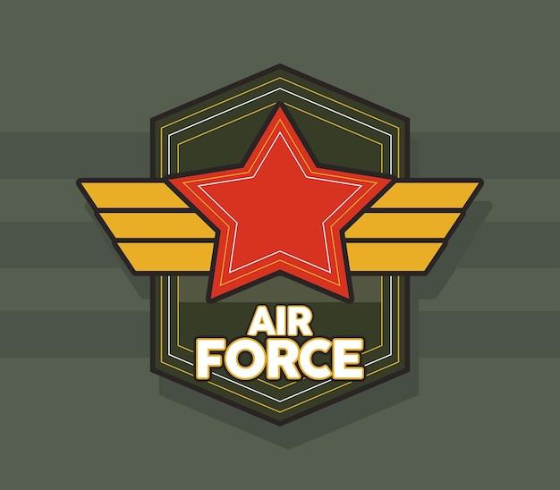 Estrela vermelha e emblema da força aérea de asas douradas