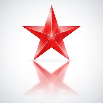 Estrela vermelha em fundo branco