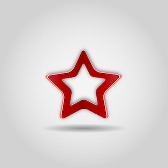 Estrela vermelha realista em fundo cinza. ícone da web, assine. ilustração vetorial.