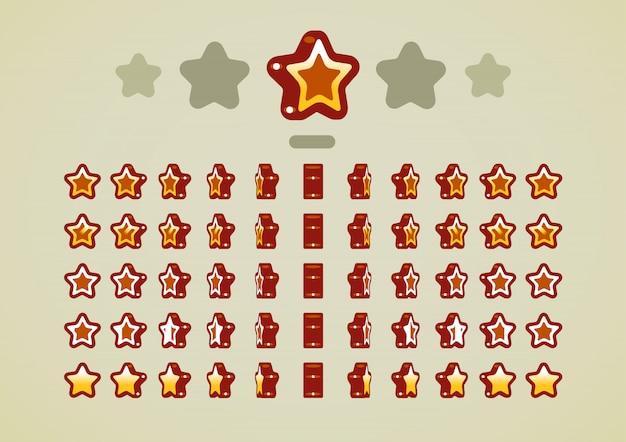 Estrelas animadas de bronze para jogos de vídeo