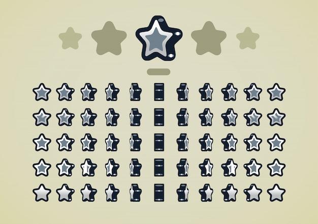 Estrelas animadas de prata para jogos de vídeo