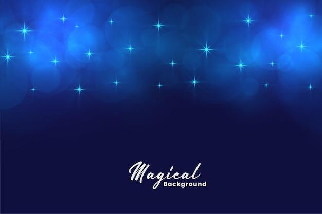 Estrelas azuis mágicas bonitas e fundo das luzes do bokeh